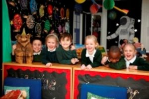 Children playing together at Courtwood Primary School
